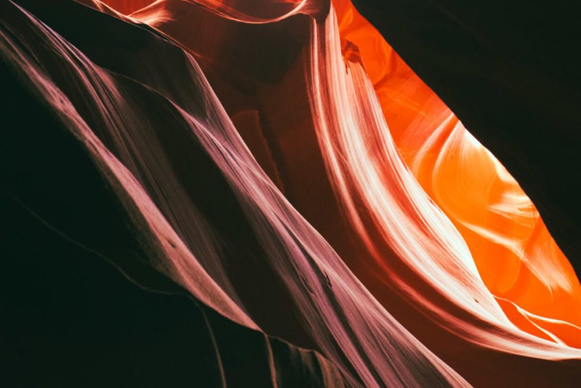 red and orange cliff wall of the antelope canyon