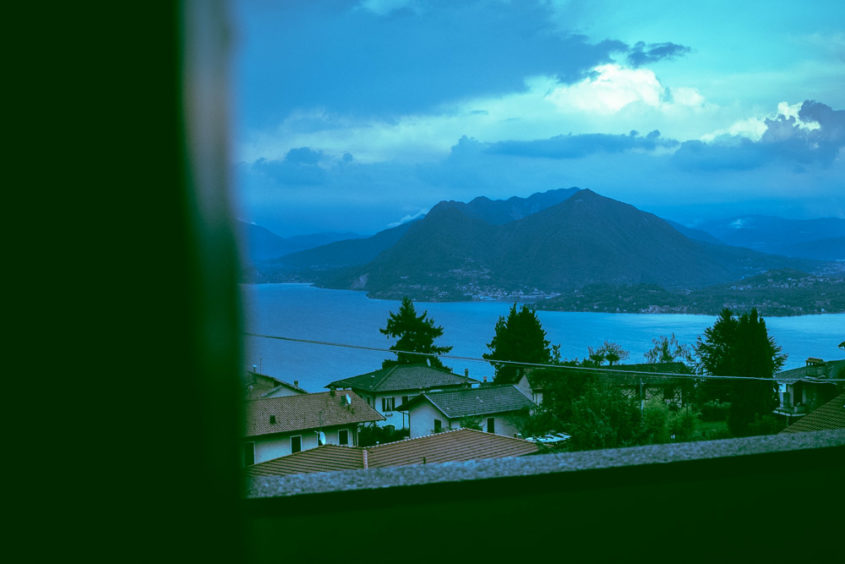 mountain and lake view from a house